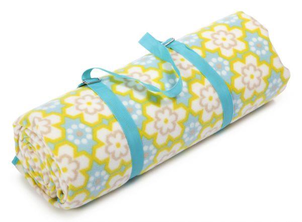 Biederlack - Picknick Decke XXL Bright Yellow mit Tragegurt - Größe 200 x 200 cm